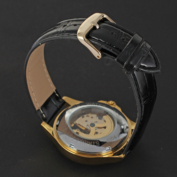 winner alloy case watch with visible mechanism leather strip for man