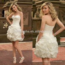 2014 Organza Sweetheart Short Wedding Dress With Criss Cross Pleated Bodice Ruffled Skirt Zipper Sheath Bridal Gown NB0881