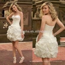 2014 Organza Sweetheart Vestido de noiva curto com cruz cruzada Bodice Ruffled Saia Zipper bainha vestido nupcial NB0881