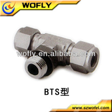 Positionable SAE stainless steel male branch tee tube to pipe fittings