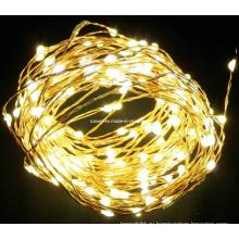 Желтые светодиодные фонари для гнезда из медной проволоки, Светодиодные рождественские огни