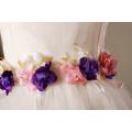 розовый лепесток фиолетовый день рождения платья партии платья Рождество 2017 новорожденных девочек новые стили одежды свадебные девушки цветка