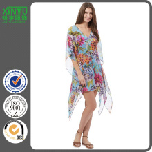 2016 Sunmer fashion Beach Collection Aqua Floral Kaftan
