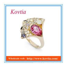 Moda china atacado atacado jóias anel rosa safira anel
