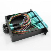 Mit MPO-LC Patchkabel und Adapter MPO Kassette