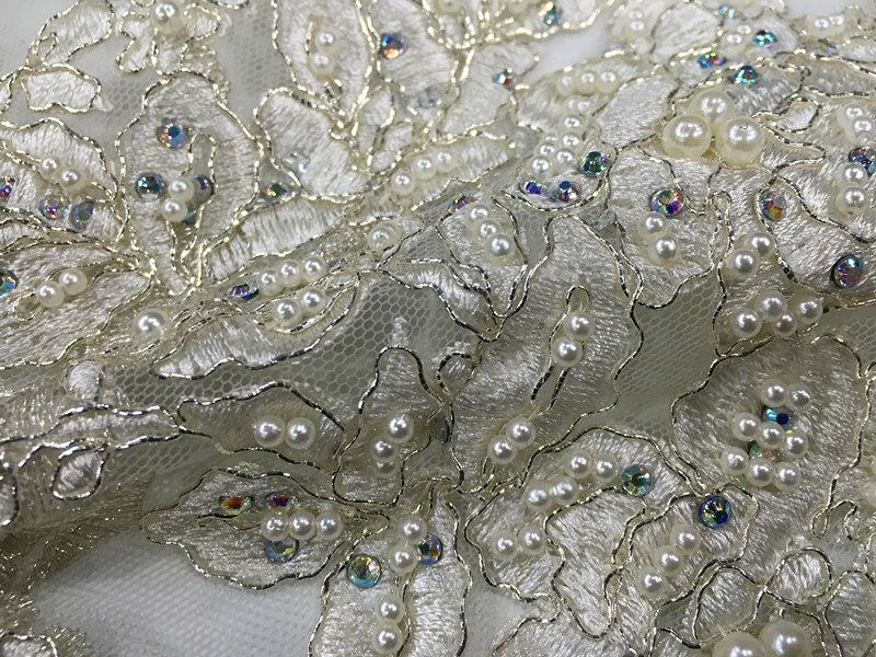 Handmade Pearl Embroidery Fabric