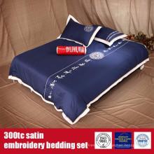 Roupa de cama da qualidade do hotel do bordado do cetim do algodão 300TC