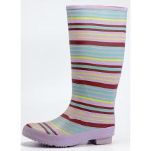 Colored Stripe Rubber Rain Boots For Women