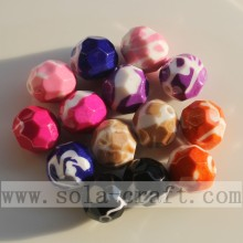 Painted Faceted Solid Diamond Round Beads Mix Colors
