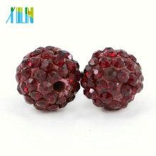Hot Sale Deep Siam Color Shining Rhinestone Shamballa Spacer Beads for Wedding Dress Size 4mm-18mm , IB00109 - Deep Siam