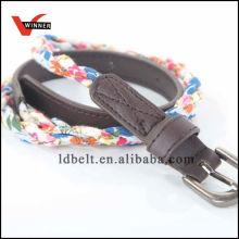 Boa qualidade colorida com cinto trançado de moda de couro de PU Leather