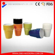 Vente en gros Tasse à café en céramique à 2 tons sans poignée