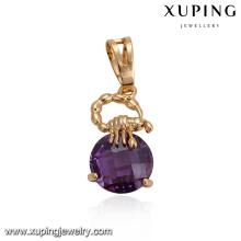 32870 Xuping festa de casamento jóias rodada fantasia sintético CZ pingente de ouro cheio de jóias