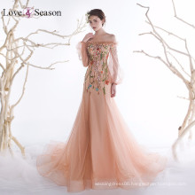 OB96356 long evening dress fish cut with flower pattern sex celebrity evening dresses