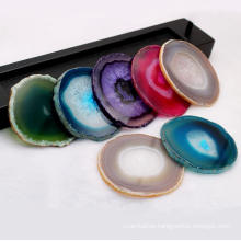 Natural Agate Slice Coaster Fashion Colorful Dyeing Mat Pads Slice Agate Gemstone Cup Mat Decorative Placemat Home Desktop Decor