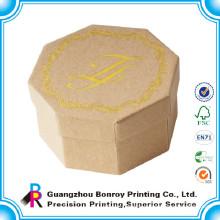 Logo gold hot stamping custom octagonal kraft jewelry box