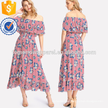 Mixed Print Tiered Ruffle Bardot Dress Manufacture Wholesale Fashion Women Apparel (TA3231D)