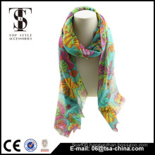 Long Style of Length and Printed Pattern Flower printed scarf