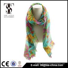 Lange Art der Länge und gedruckten Muster Blumen gedruckt Schal
