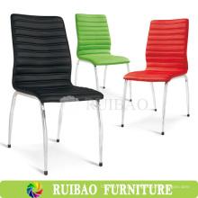 Cadeira de jantar de couro estofada de alta qualidade Chromed Base Cadeira de jantar estofada