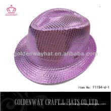 Chapéu Fedora de Sequin roxo F1194-d
