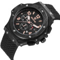 Functional chronograph silicone band wrist watch for men sports