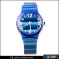Quartzo de relógio azul marinho, relógio de listra para adolescentes