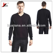 16GG worsted cashmere V neck sweater man
