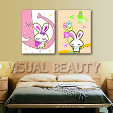 Pintura encantadora de la lona del conejo para el cuarto de niños colgante