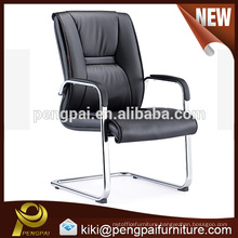 durable brief PU leather steel tubular visitor conference chair