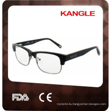 2017 top handmade acetate combined with metal optical frames, wood surface combination acetate eyeglasses