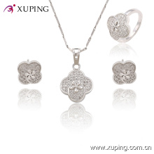 63760 Fashion Rhodium Lace Cubic Zirconia Set de bijoux