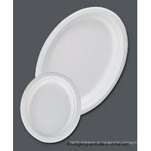 """Utensílios de mesa de cana-de-açúcar / Placa oval de 12,6 """"(placa de bagaço)"""