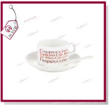 4oz blanc Sublimation Coffee Mug avec soucoupe et cuillère
