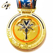 Medalhas de troféus de metal de ouro personalizado com esmalte macio