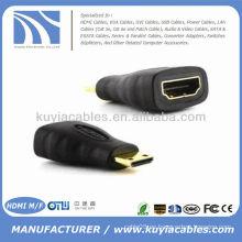 Nuevo mini HDMI macho a HDMI hembra adaptador convertidor