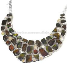 Ammolite naturelle et collier d'argent sterling 925 en argent sterling