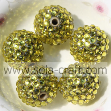 Gold AB Wholesale Resin Rhinestone 18*20MM Solid Beads For DIY Jewelry