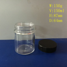 Straight Sided Glass Jar 150ml with Black Cap