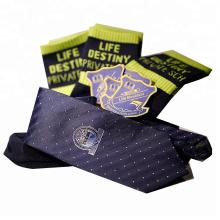 custom school uniform logo design woven badge school tie school sock