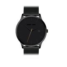 Fashion japanese movement steel quartz black watch