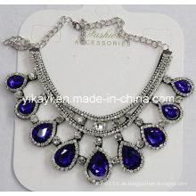 Frau Modeschmuck Blau Waterdrop Glas Kristall Anhänger Halskette (JE0210)