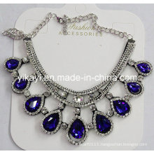 Woman Fashion Jewelry Blue Waterdrop Glass Crystal Pendant Necklace (JE0210)