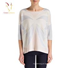 Camisola do pulôver da cor de lãs de Bringt das mulheres do teste padrão da cópia