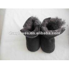 Zapatos de piel de oveja gris para niños