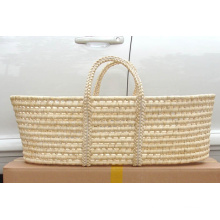 (BC-BA1008) High Quality Natural Straw Handmade Carry Baby Basket