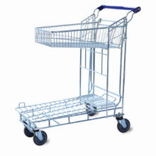 Warehouse Zinc Plated 2 Layers Flat Trolley Cart