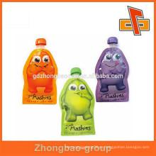 Flexible stand up bolsa de jugo de yute resellable jugo bolsa de bolsa de canalón para bebé