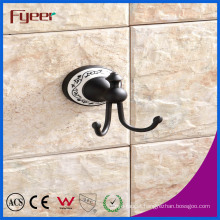 Fyeer Classic Black Bathroom Accessory Brass Hanging Robe Hook