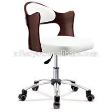 2017 Haiyue Muebles suave cojín de alta calidad marrón contrachapada silla de la silla del personal de oficina con ruedas